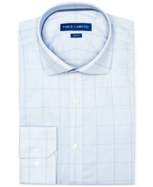 Vince Camuto Men's Slim-Fit Comfort Stretch Topaz/Blue Check Dress Shirt