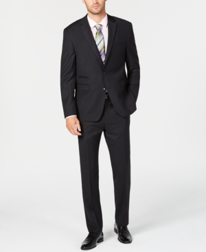 Vince Camuto Men's Slim-Fit Stretch Black Tonal Grid Wool Suit
