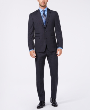 Vince Camuto Men's Slim-Fit Stretch Charcoal Stepweave Wool Suit