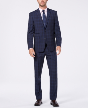 Vince Camuto Men's Slim-Fit Stretch Medium Blue Wool Plaid Suit