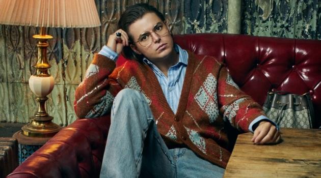 Michael Schwartz photographs Joe Valle in Gucci for Harper's Bazaar.