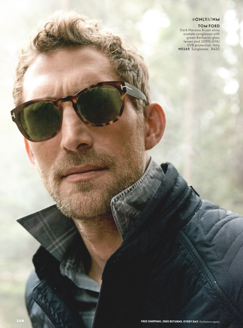 A cool vision, Will Chalker rocks tortoise framed sunglasses from Tom Ford.