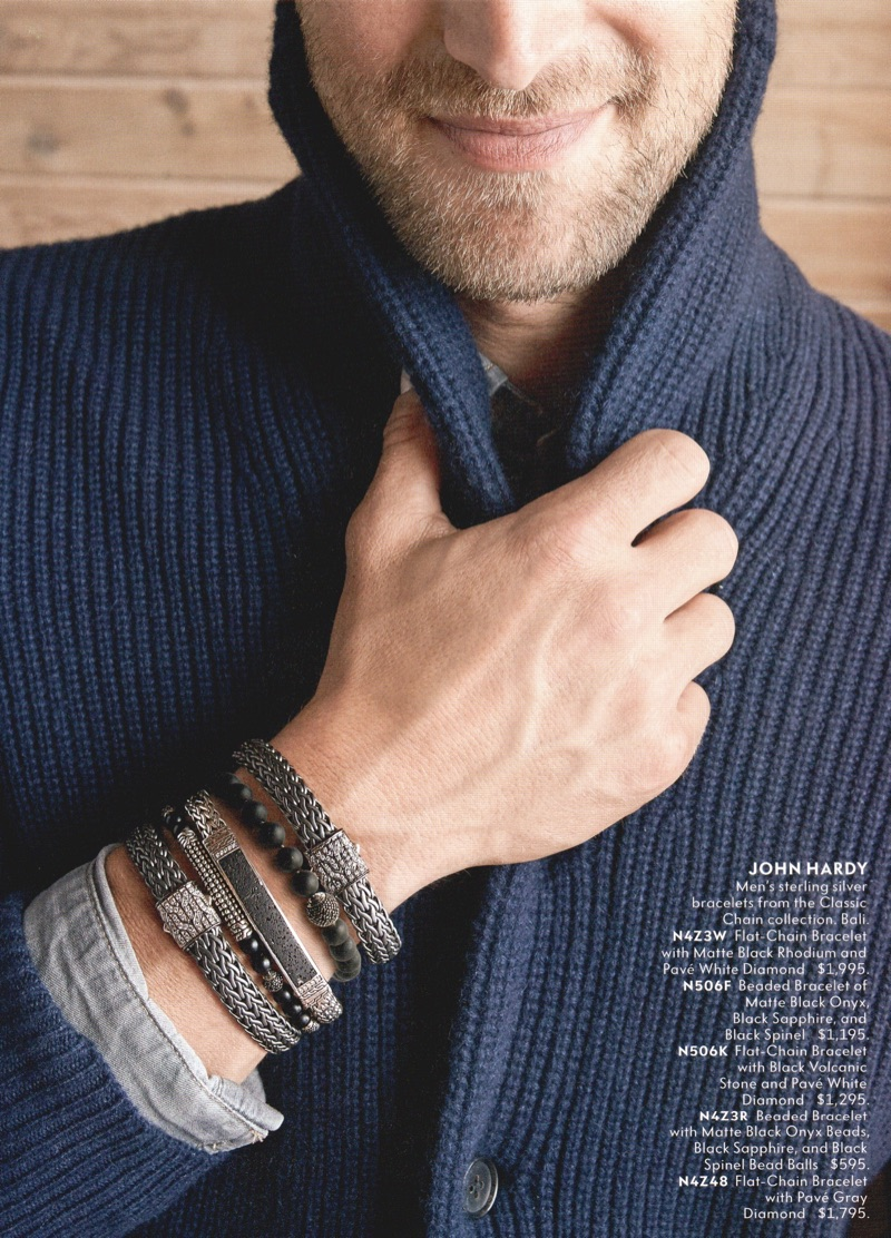 Layering accessories, Will Chalker dons bracelets from John Hardy.