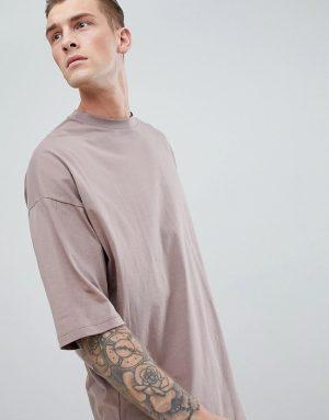 ASOS DESIGN oversized longline t-shirt with deep curve hem in brown - Brown