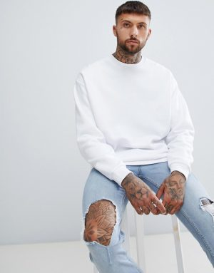 ASOS DESIGN oversized sweatshirt in white - White