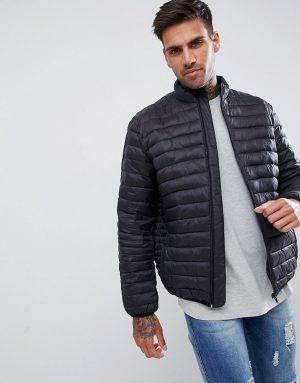 ASOS DESIGN quilted jacket with funnel neck in black - Black