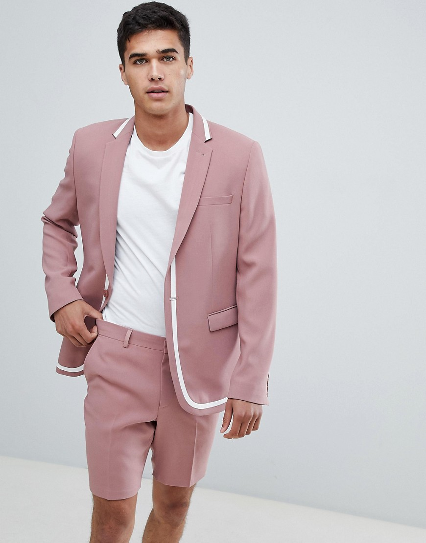 8e81d91be7455 ASOS DESIGN skinny suit jacket in pink with white trim – Pink
