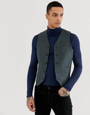 ASOS Skinny Suit Vest In Teal Green Wool Blend - Green