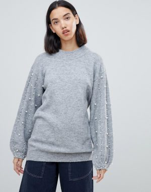 Amy Lynn sweater with embellished detail - Gray