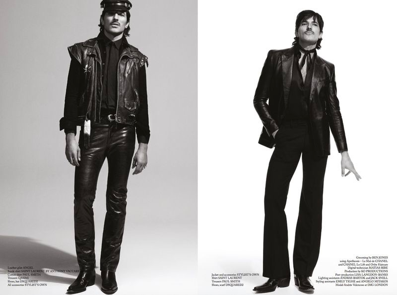 Andres Velencoso Rocks Leather Fashions for Glass Men Cover Shoot