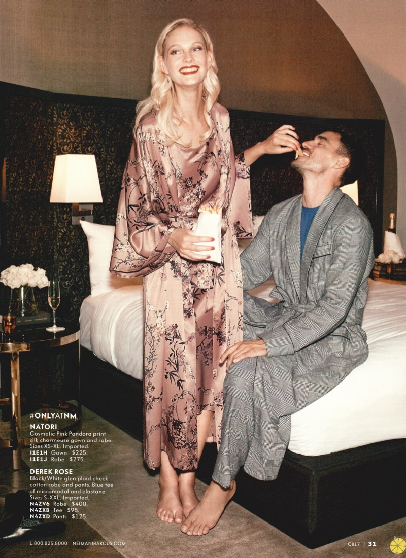 Embracing a moment of leisure, Arthur Kulkov dons a robe and pajamas by Derek Rose.