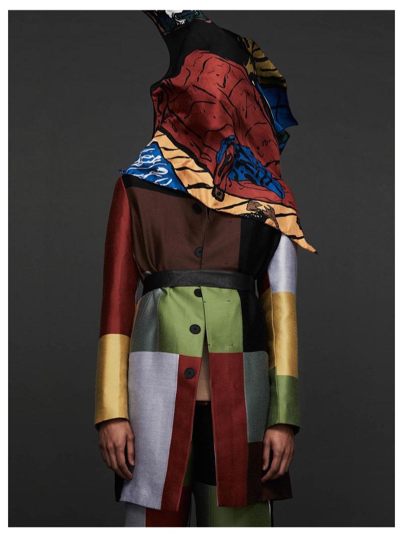 BOTTEGA VENETA coat £2,640, jacket £2,460 and trousers £1,140; OUR LEGACY scarf £140