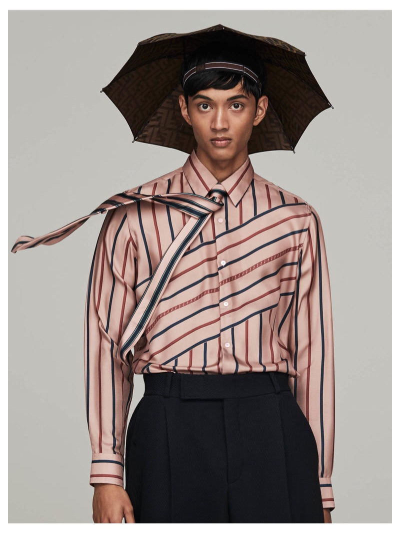 FENDI shirt £850, trousers £550, umbrella hat £250 and tie £100