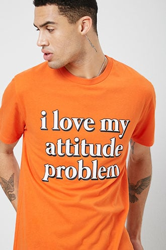 d0495ce1b Attitude Graphic Tee by 21 MEN Orange/white | The Fashionisto