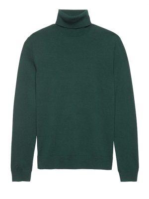 Banana Republic Mens BR x Kevin Love Italian Merino Turtleneck Sweater Hemlock Green Size M