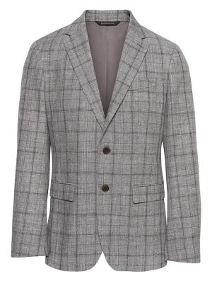 Banana Republic Mens BR x Kevin Love Slim Plaid Suit Jacket Chrome Gray Size 34