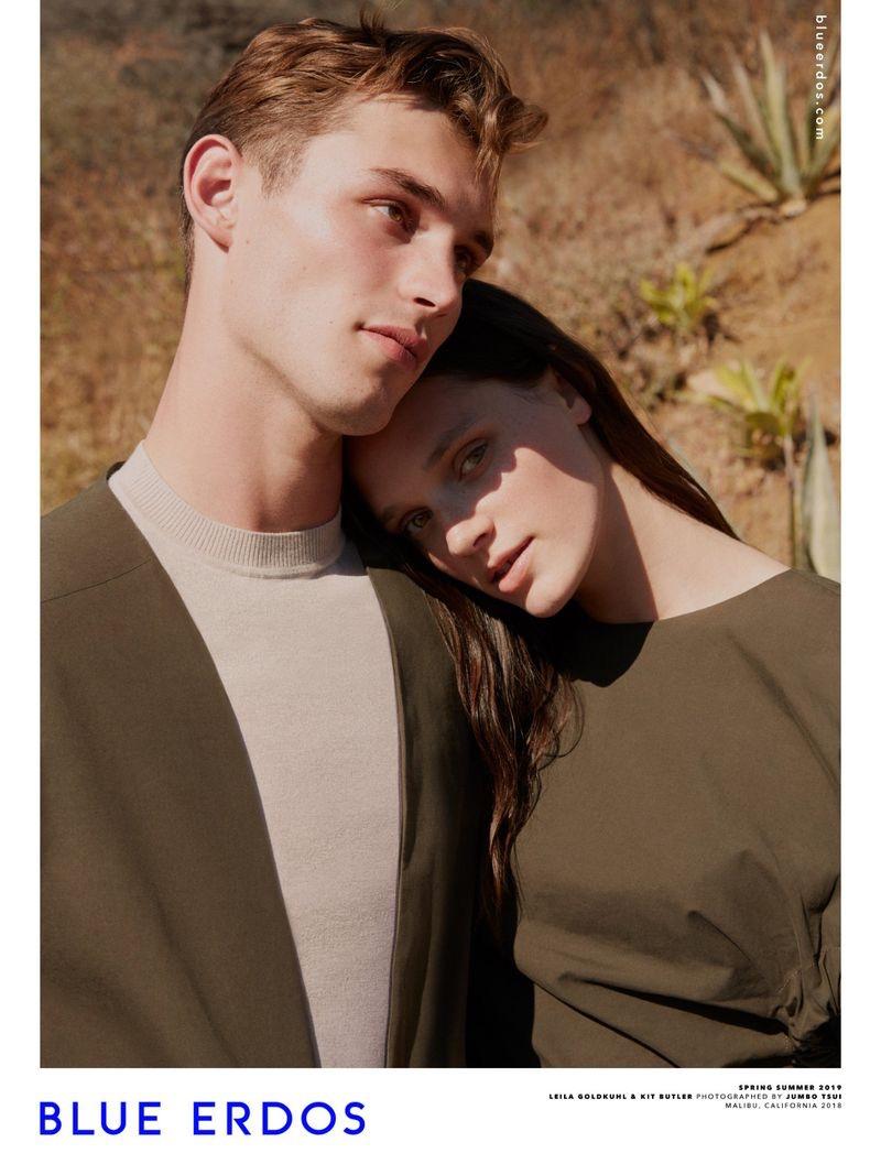 Models Kit Butler and Leila Goldkuhl appear in Blue Erdos' spring-summer 2019 campaign.