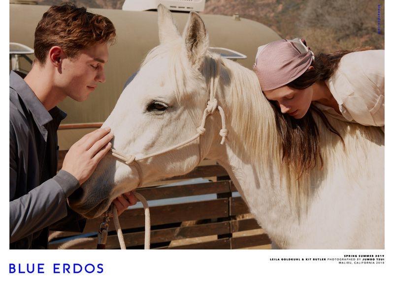 Blue Erdos enlists models Kit Butler and Leila Goldkuhl for its spring-summer 2019 campaign.