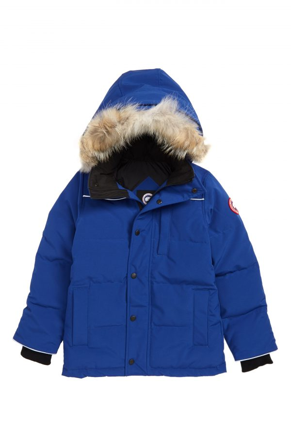 Boy's Canada Goose Eakin Genuine Coyote Fur Trim Down Parka, Size XS (6) - Blue