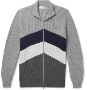 Brunello Cucinelli - Slim-Fit Chevron Ribbed Cashmere Zip-Up Cardigan - Men - Gray