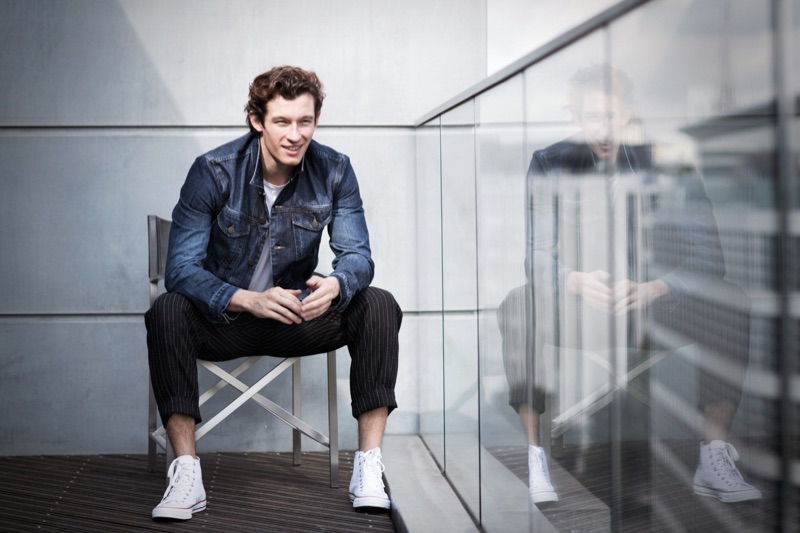 Starring in a photo shoot, Callum Turner wears clothes from Acne Studios, Sunspel, and Folk.