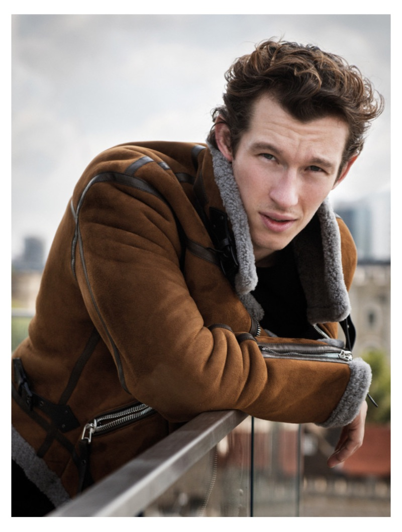 Actor Callum Turner dons a shearling jacket by Lanvin.
