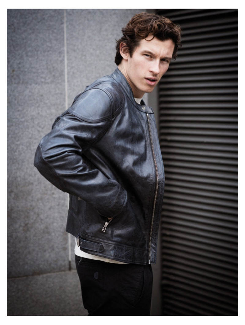 Rocking a leather jacket, Callum Turner appears in a new photo shoot.