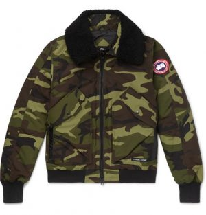 Canada Goose - Bromley Shearling-Trimmed Camouflage-Print Shell Down Bomber Jacket - Army green