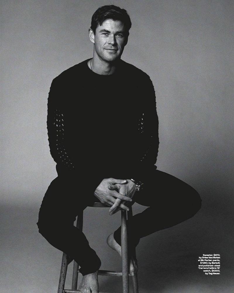 Actor Chris Hemsworth wears a Dries Van Noten sweater with Berluti pants.