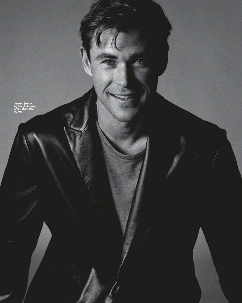 All smiles, Chris Hemsworth dons a Giorgio Armani leather jacket with a RRL t-shirt.