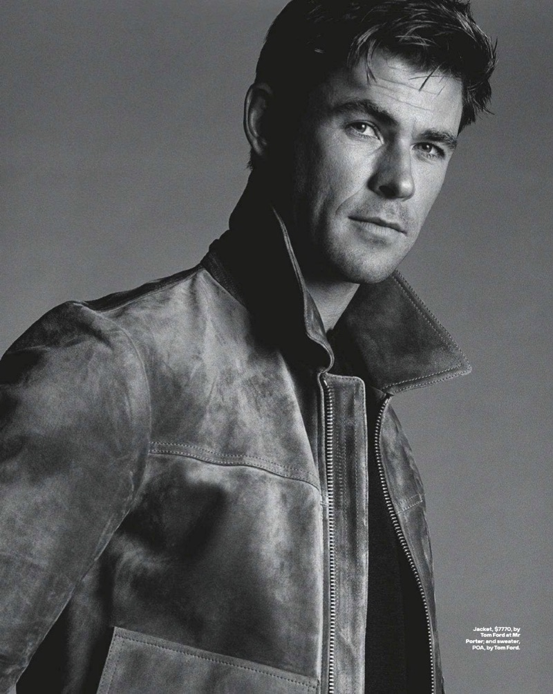 Starring in a photo shoot, Chris Hemsworth sports a Tom Ford jacket and sweater.