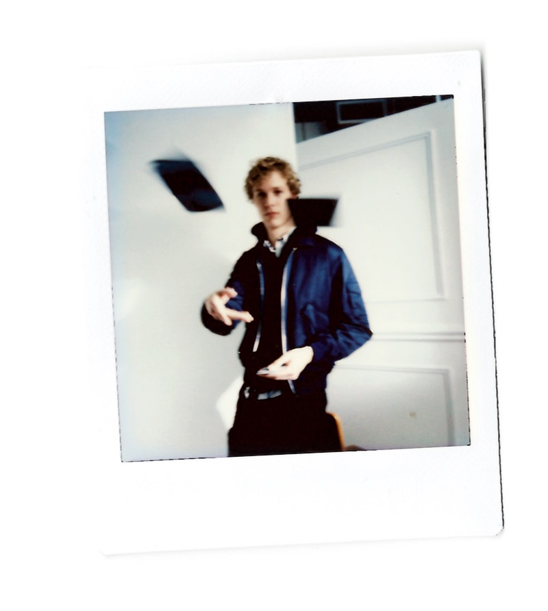 Connecting with Club Monaco, Sven de Vries sports a contemporary look with an aviator bomber.