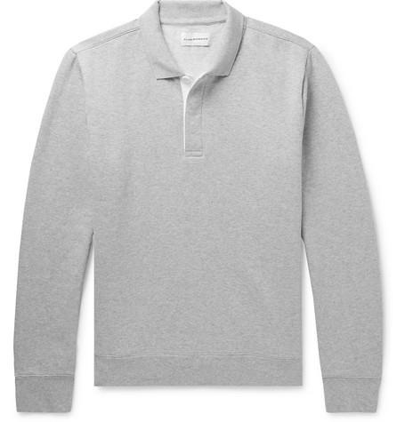Club Monaco - Mélange Fleece-Back Cotton-Blend Jersey Polo Sweatshirt - Men - Light gray