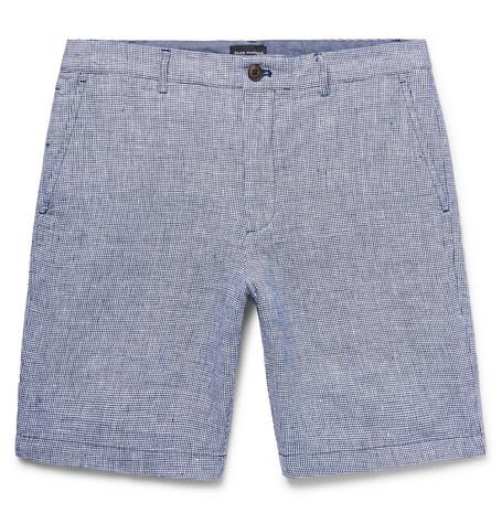 Club Monaco - Maddox Slim-Fit Houndstooth Slub Linen Shorts - Men - Navy