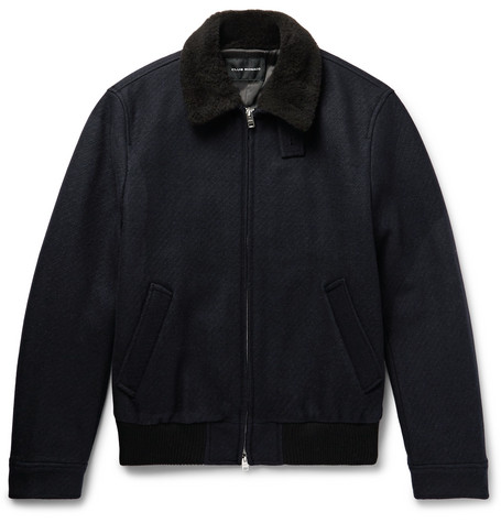 Club Monaco - Shearling-Trimmed Wool-Blend Bomber Jacket - Men - Navy