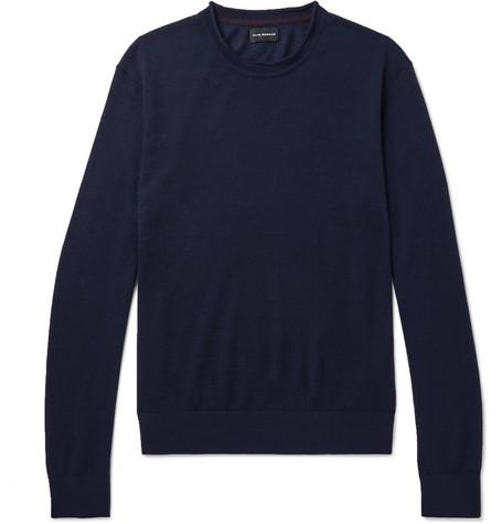 Club Monaco - Slim-Fit Merino Wool, Silk and Cashmere-Blend Sweater - Navy