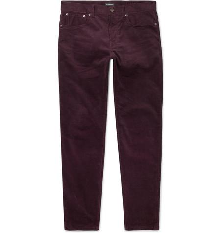 Club Monaco - Slim-Fit Stretch-Cotton Corduroy Trousers - Purple