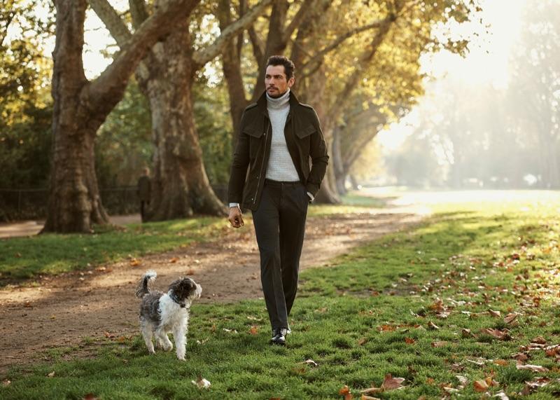 Going for a stroll, David Gandy wears a sleek look from Mango.