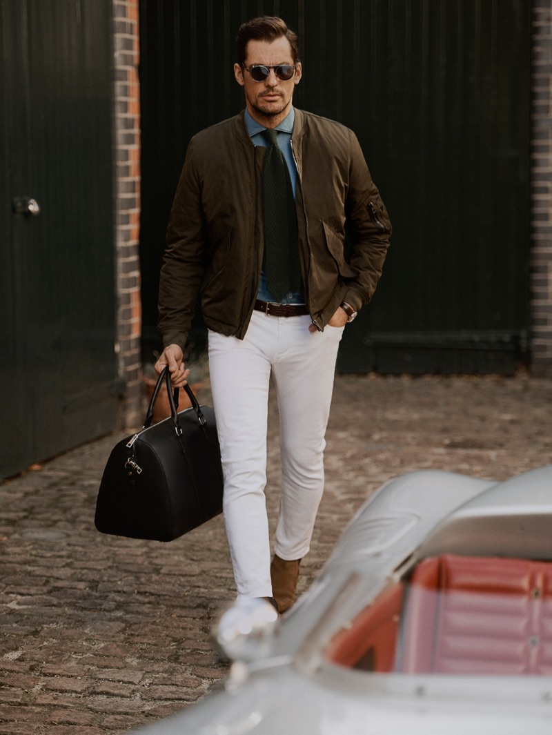 Stepping out, David Gandy wears a street style worthy look from Mango.