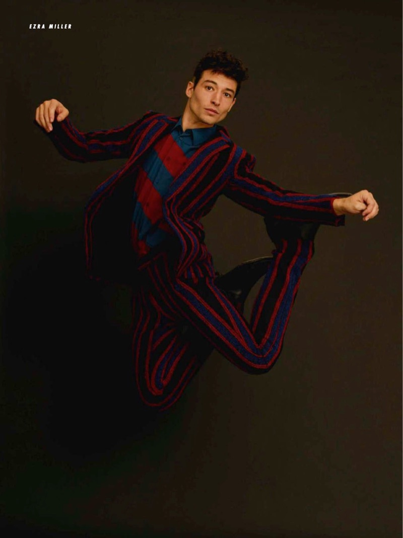 Wearing a Bottega Veneta suit and shirt, Ezra Miller also rocks Givenchy shoes.