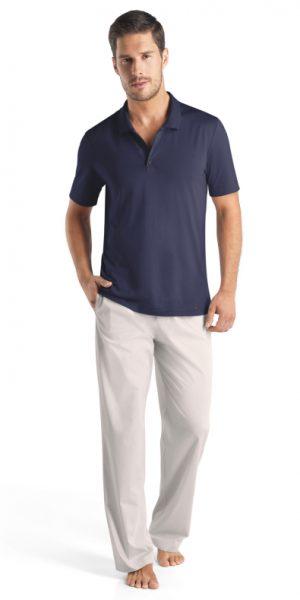 HANRO (75439) Night & Day S/SLV Polo Shirt - Mineral S