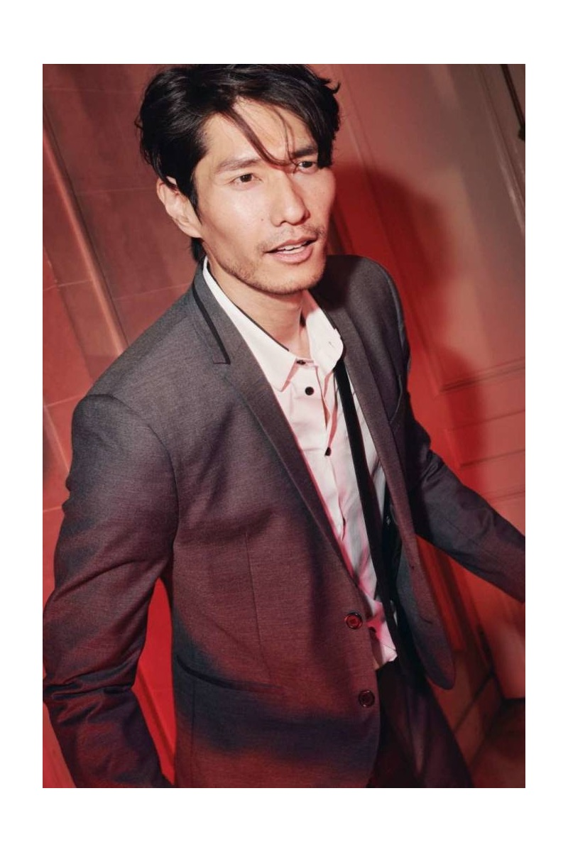 Daniel Liu sports a grey skinny-fit blazer and slim-fit white shirt from H&M.