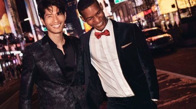 Dressed to impress, models Daniel Liu and Brad Allen wear formal styles by H&M.