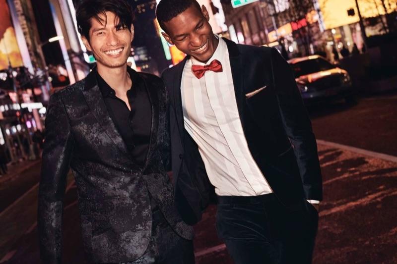 Dressed to impress, models Daniel Liu and Brad Allen wear formal styles by H&M.