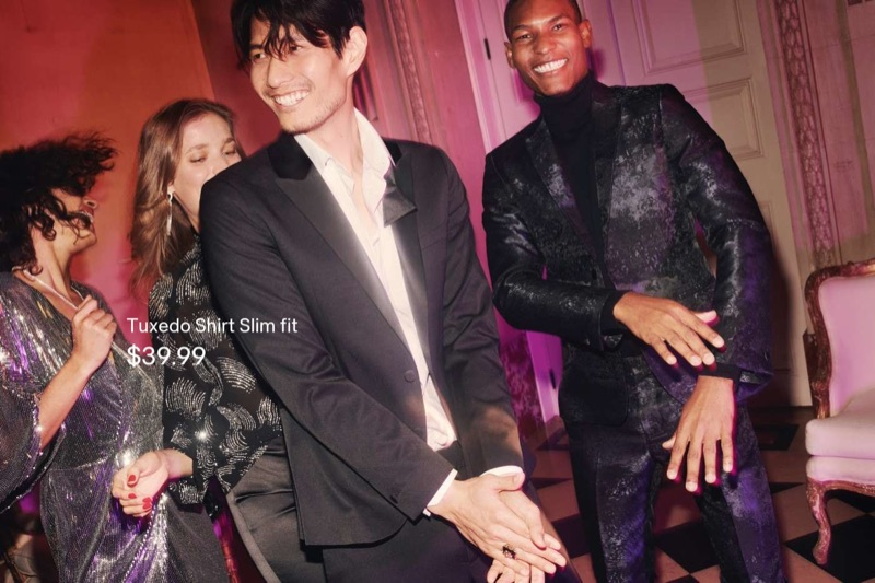 Pictured left, Daniel Liu dons a H&M tuxedo jacket, shirt, and slim-fit trousers. Right: Brad Allen dons a H&M jacquard-weave blazer and suit pants.