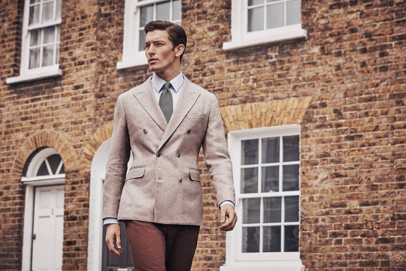 A sharp vision, Oli Lacey stars in Hackett London's fall-winter 2018 campaign.