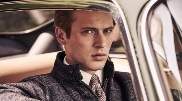 Jules Raynal stars in Hackett London's fall-winter 2018 campaign.