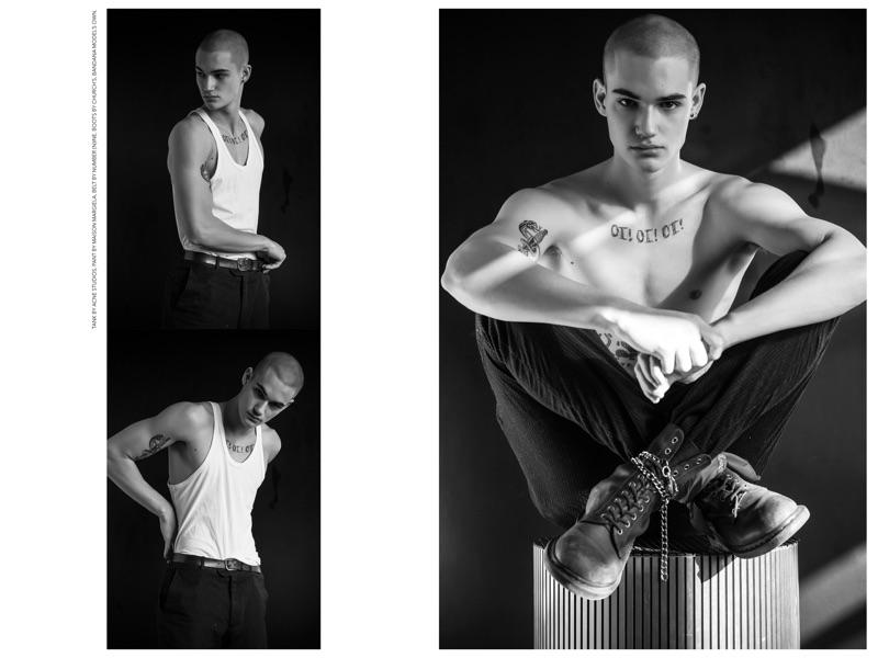 Hakil wears tank Acne Studios, pants Maison Margiela, belt Number (N)ine, boots Church's, and bandana model's own.