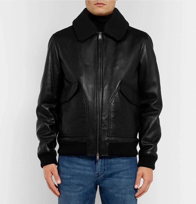 Hugo Boss Shearling-Trimmed Leather Aviator Jacket
