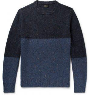 J.Crew - Colour-Block Mélange Donegal Wool-Blend Sweater - Men - Navy